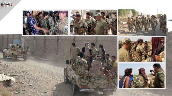 فيديو + صور| قائد اللواء الثاني حراس الجمهورية يعايد أبطال اللواء الثالث في خطوط النار داخل مدينة الحديدة